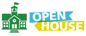 graphic with open house text