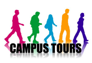 Graphic with campus tours text